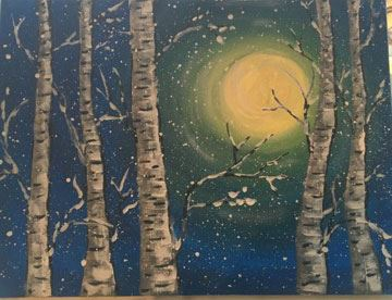 Winter Birch painting